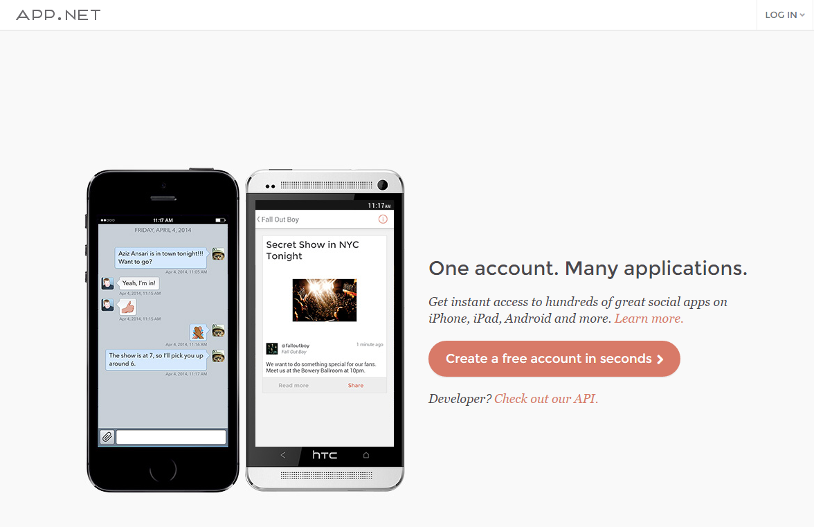 Ad free social networks App.net