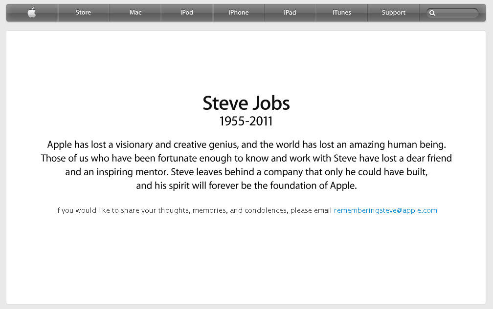 Steve Jobs remembered on apple's homepage