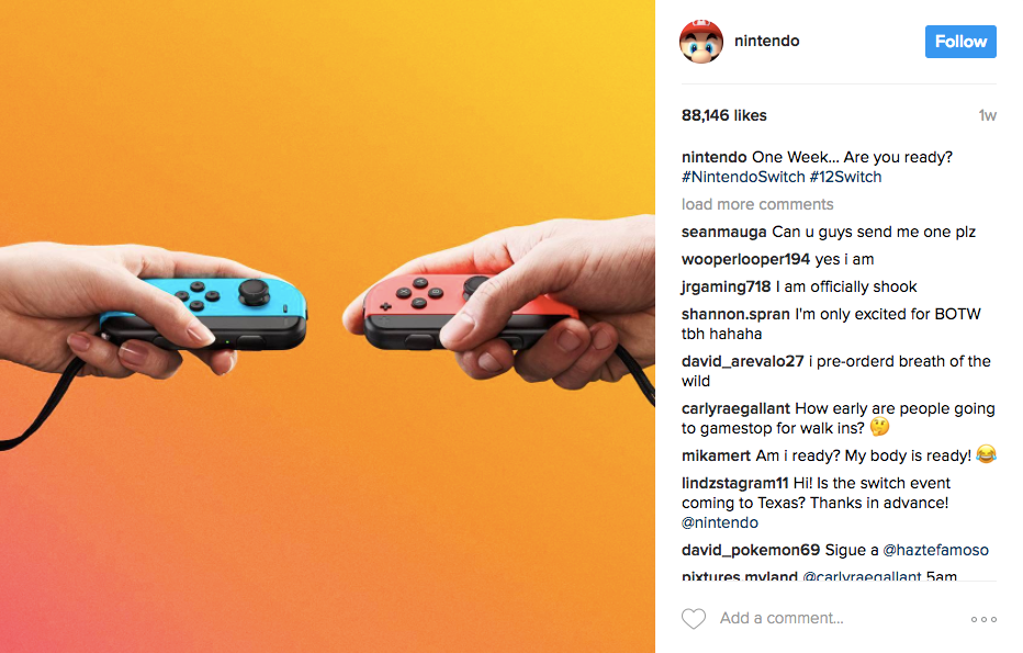 Best Instagram marketing campaigns of 2017 Nintendo Switch