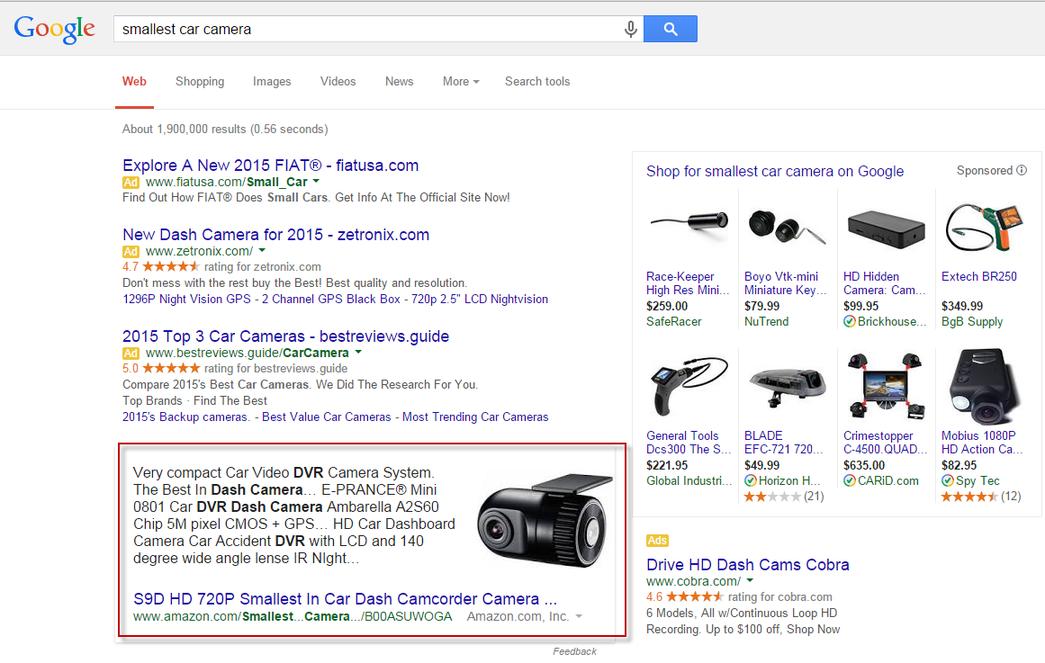 Google commercialized answer box desktop search