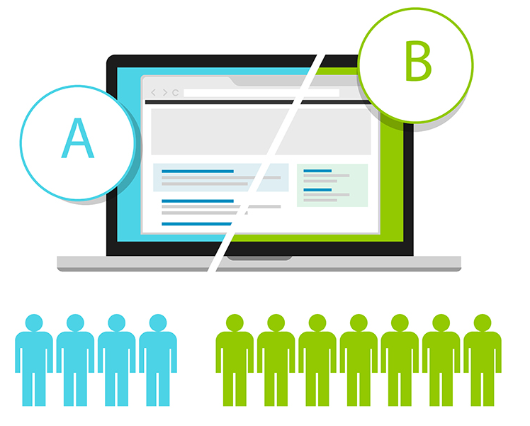 Conversion rate benchmarks split testing concept