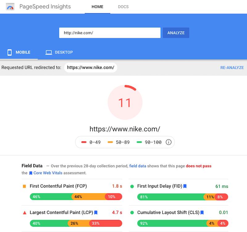 2021 customer strategies-Google Page Speed Insights