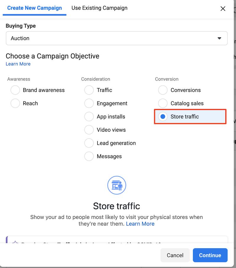 Facebook local awareness ads ad type