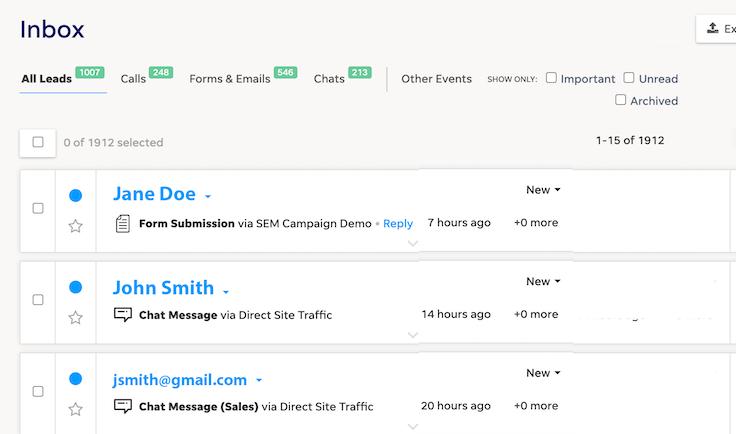 LOCALiQ CRM inbox screenshot