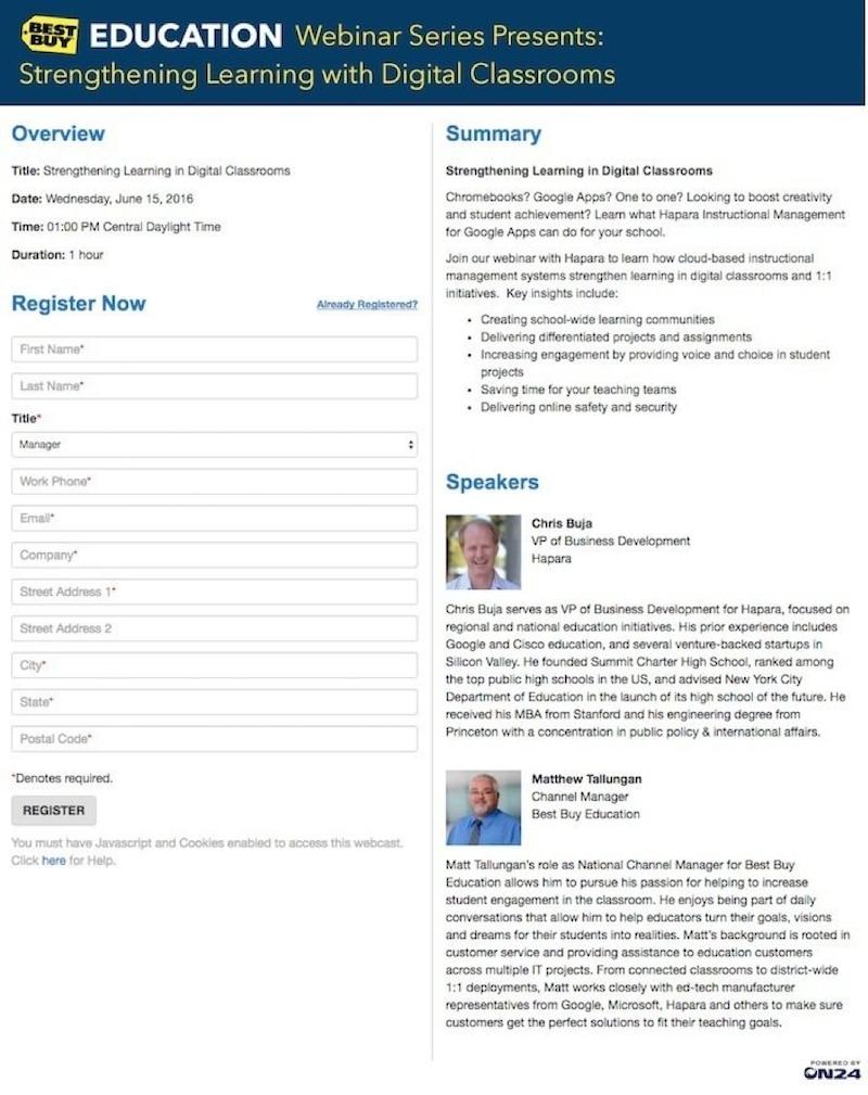 better webinar landing pages best buy example