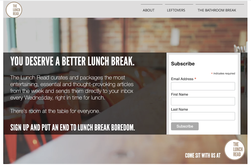 creative newsletter names the lunch break