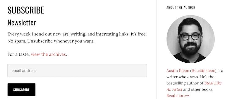 cta examples for newsletter signups austin kleon