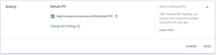 "Google Ads account ""Manual bidding"" option"