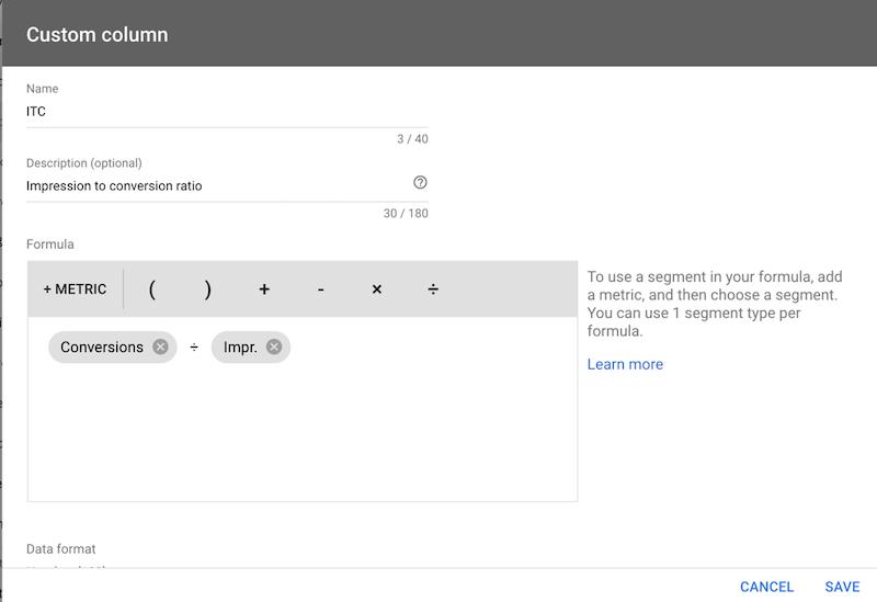 google ads optimization conversions/impressions