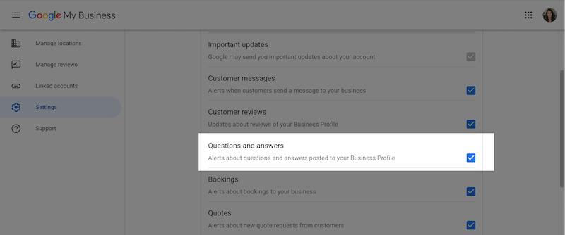 google my business optimization enable Q&A alerts