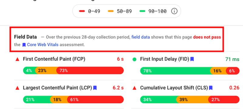 google page experience algorithm update core web vitals field data