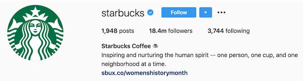 instagram bios starbucks