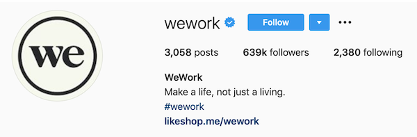 instagram bios wework
