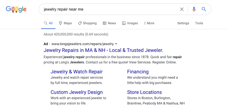 local marketing ideas near me search ad