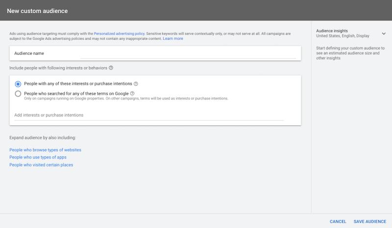 google custom audiences—new custom audience tab in google ads
