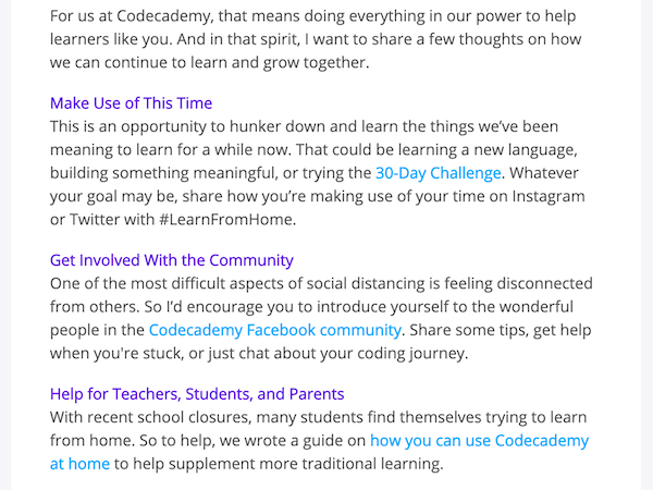marketing copywriting covid 19 example codeacademy