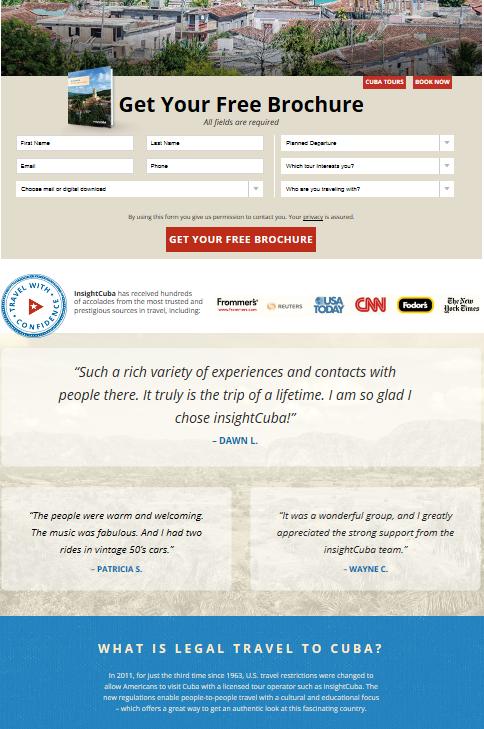 landing page travel marketing