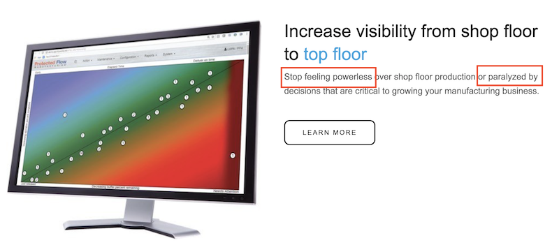 "emotional marketing copy—example with ""powerless,"" ""paralyzed"""
