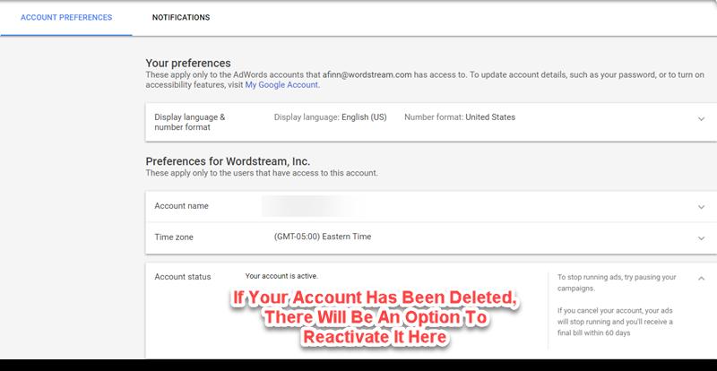 adwords account reactivation