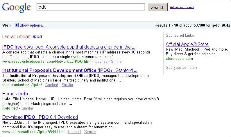Google results for misspelled brand