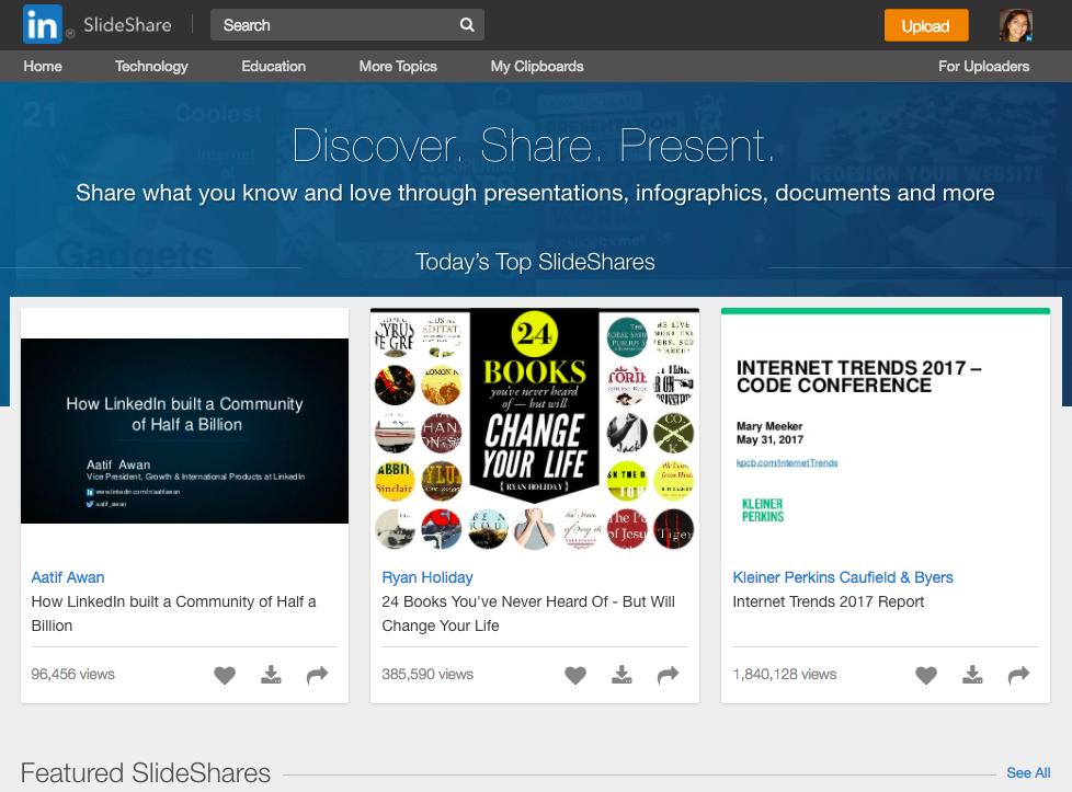 SlideShare marketing LinkedIn top SlideShare presentations