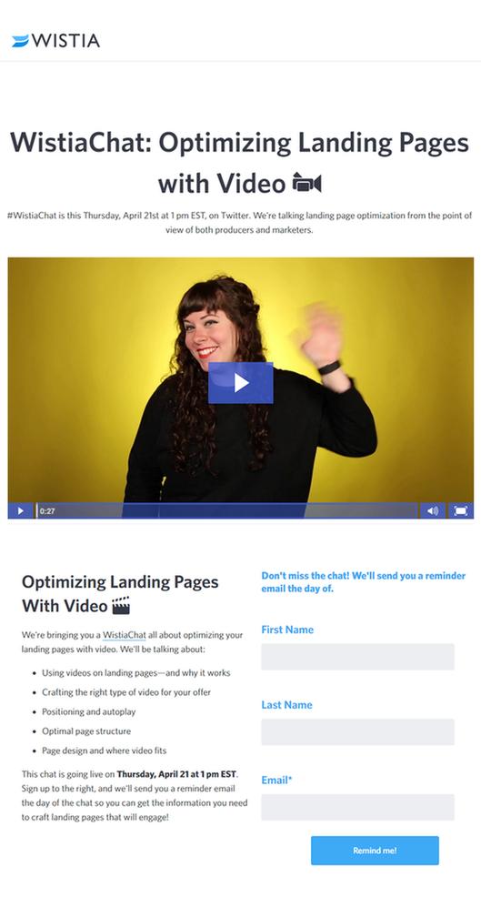 WordStream Wistia video landing page optimization Wistia landing page example