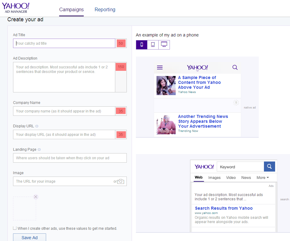 Yahoo Gemini Ads