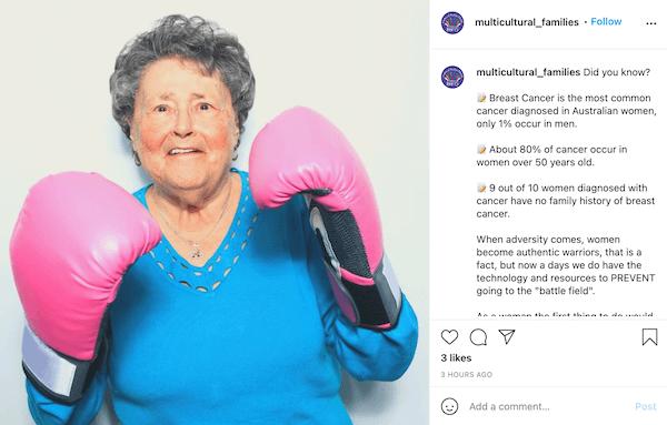 october marketing ideas—breast cancer awareness instagram post