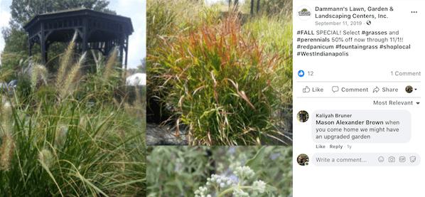 october marketing ideas: facebook post on landscaping special
