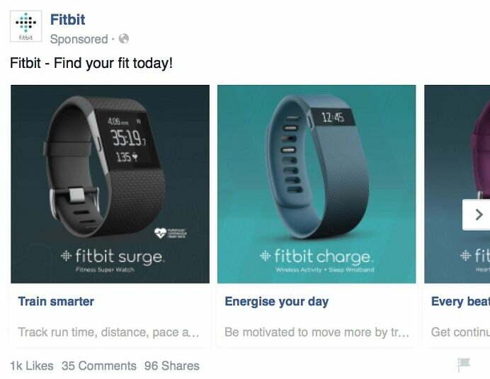 Facebook carousel ad example