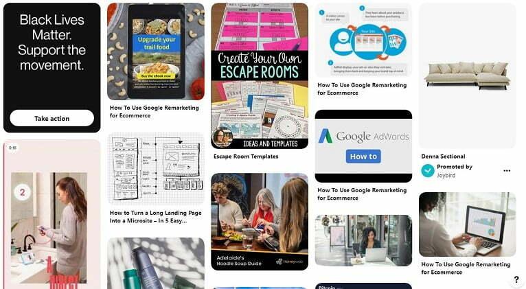 Pinterest feed example