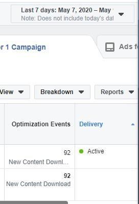 Facebook optimization events