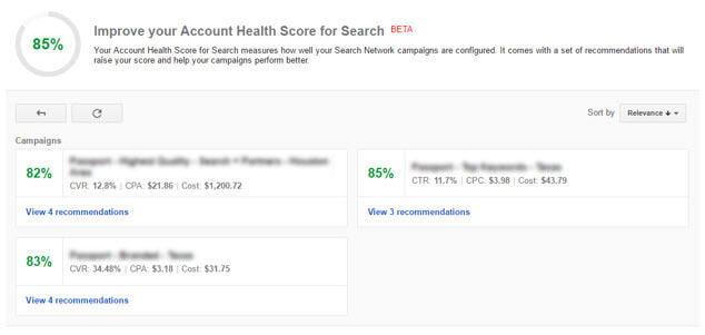 account health score for search dashboard