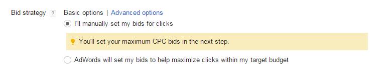 AdWords bidding options