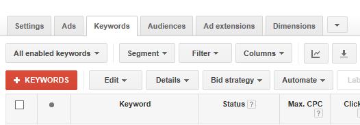adwords account structure screenshot of keywords tab