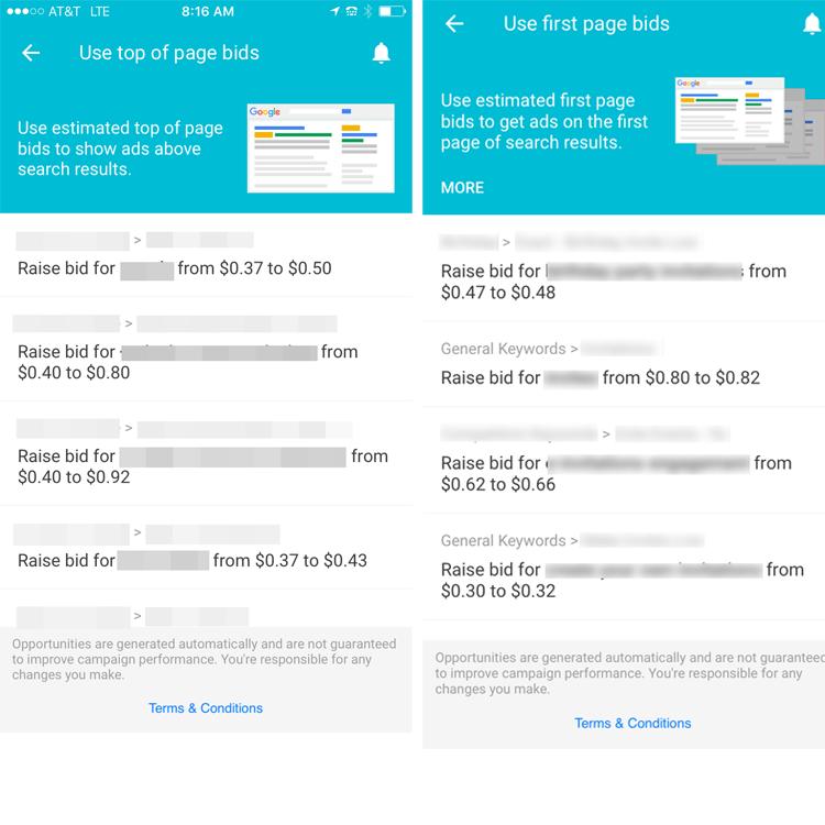 AdWords app iOS bid adjustment options screenshot