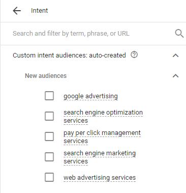 adwords new custom intent audiences