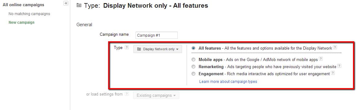 Google AdWords Display Network Settings