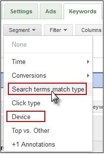 AdWords Segment Data