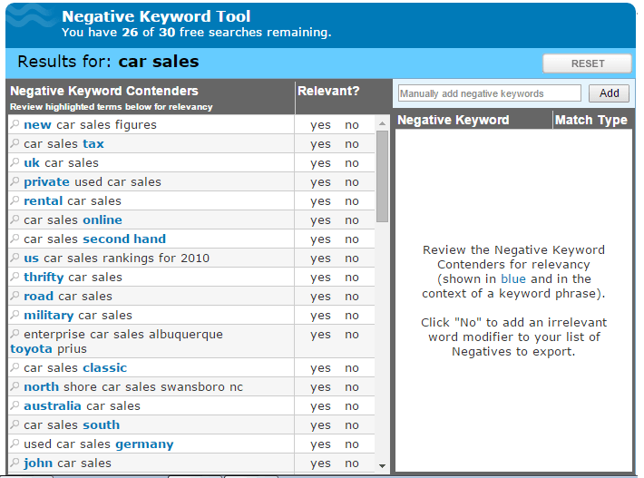 AdWords mistakes negative keyword tool