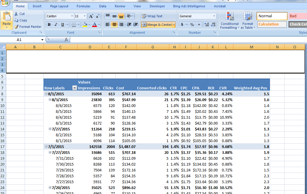 AdWords report Excel merge