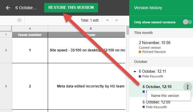agency tool google file restore previous versions