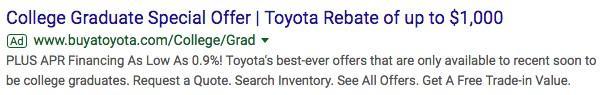 automotive marketing search ad for college grads