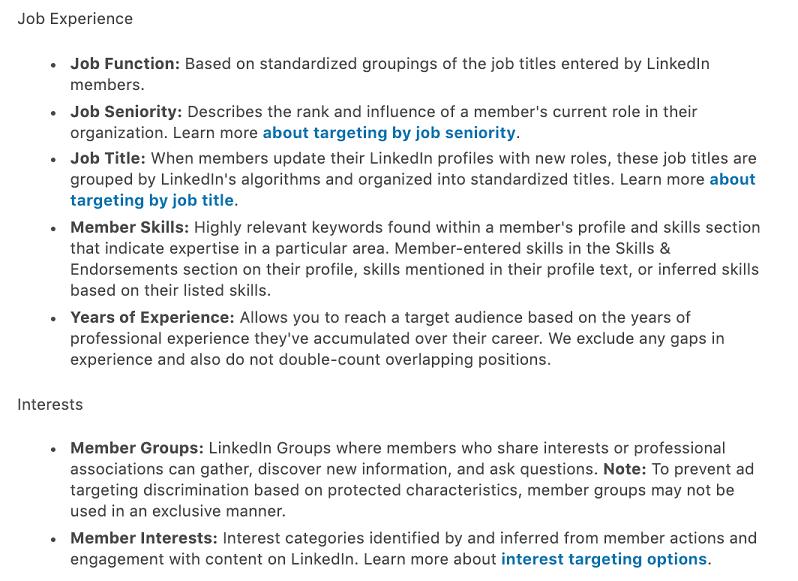 more LinkedIn targeting options
