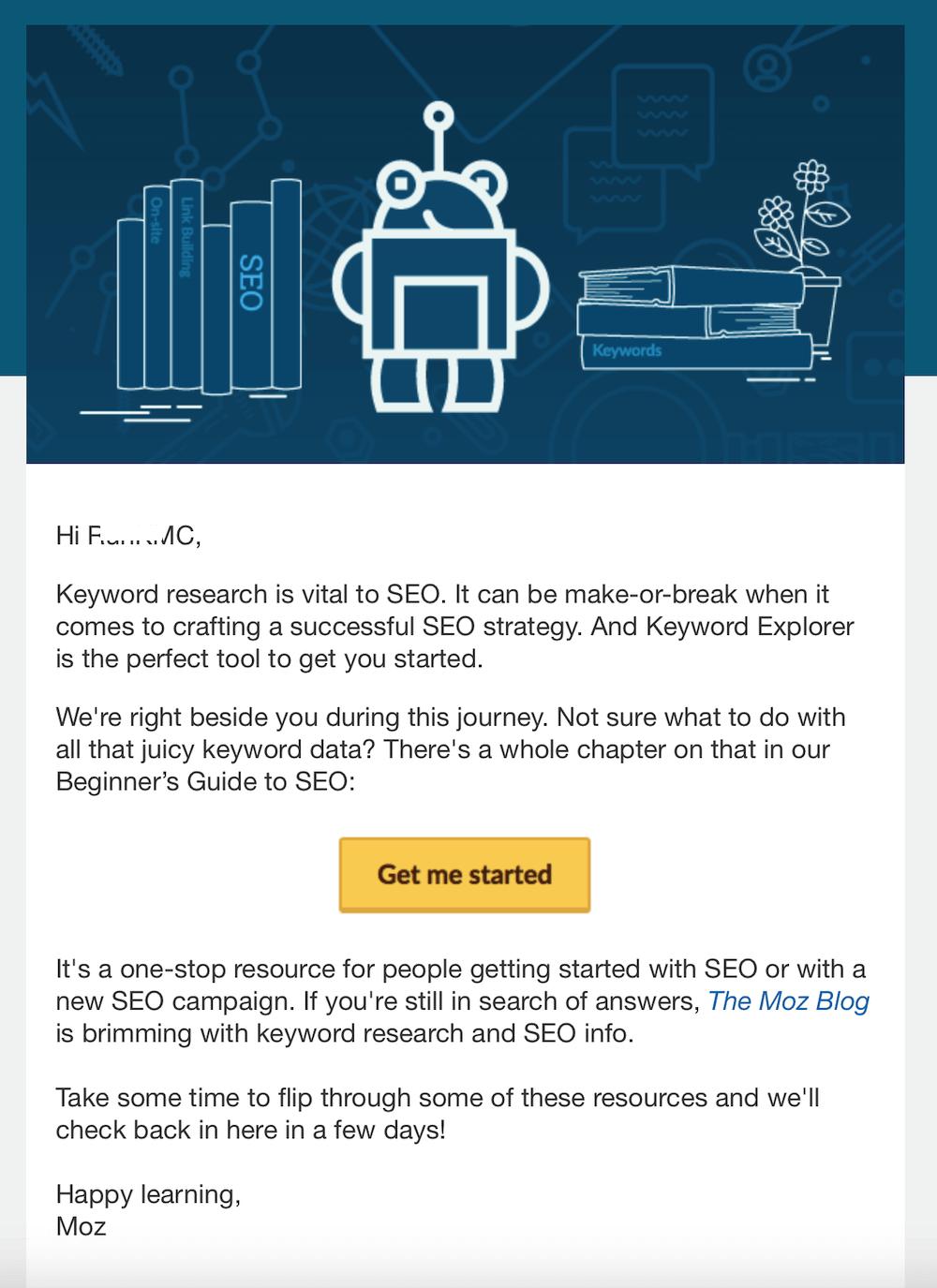 b2b marketing strategies example of a nurture email