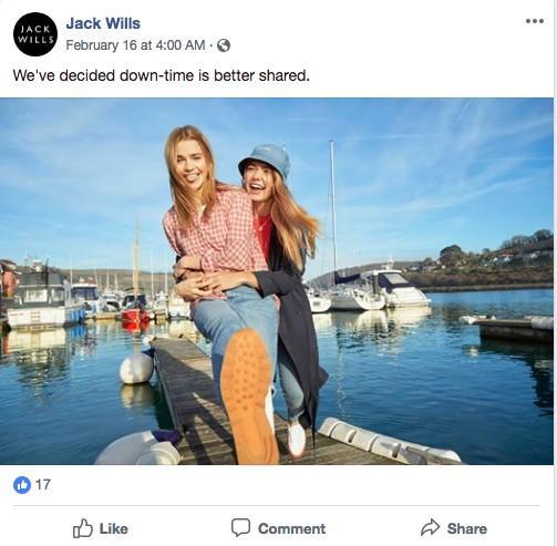 Jack Wills Facebook ad