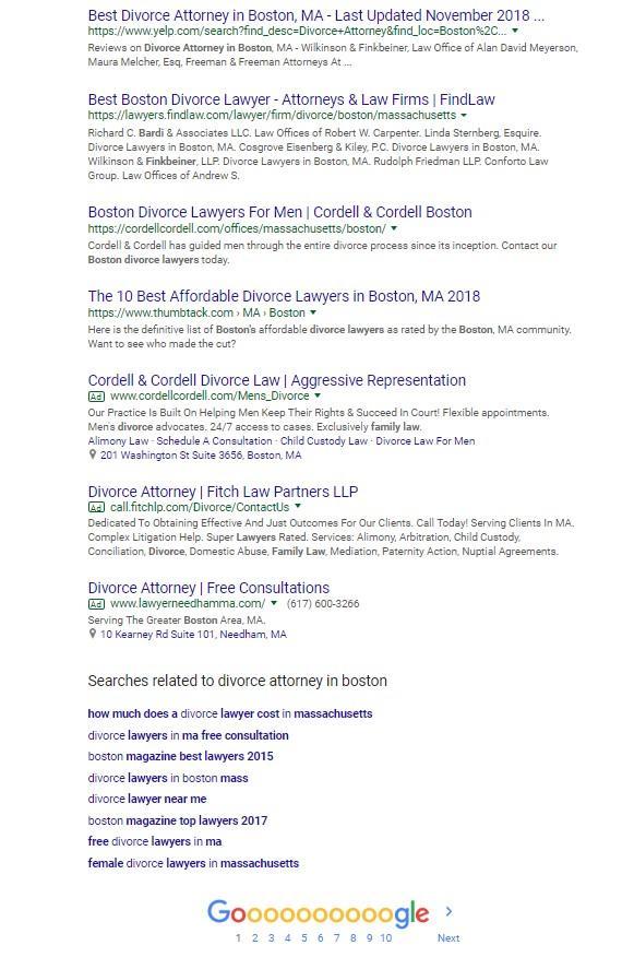 "bids versus budget bottom of the SERP for ""divorce attorney in boston"""