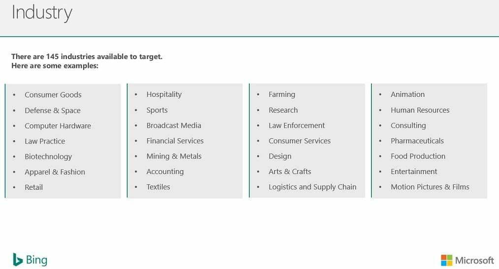Bing Ads LinkedIn profile targeting by industry