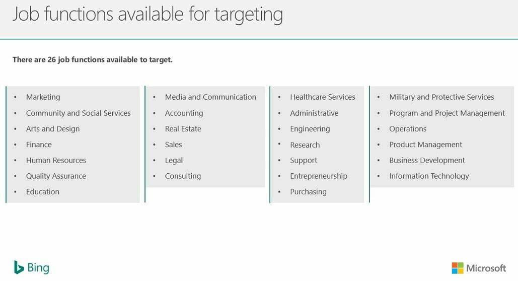 Bing Ads LinkedIn profile targeting by job function