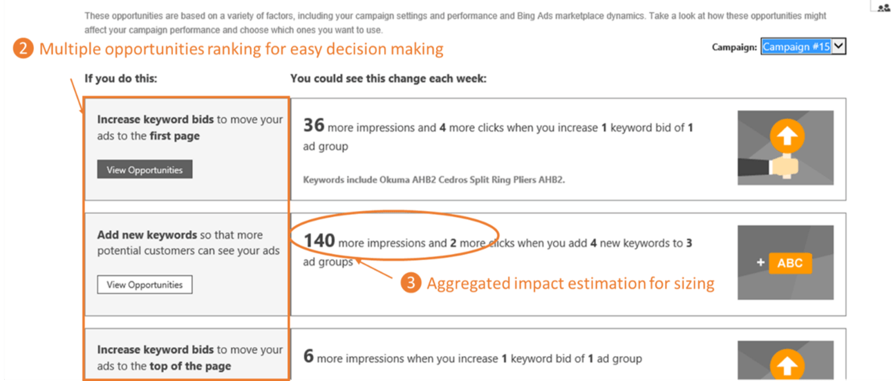 Bing Ads opportunities tab